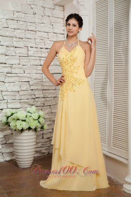 Halter Appliques Brush Train Layers Evening Dress