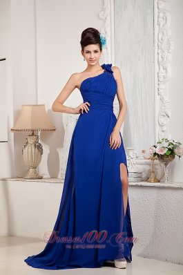 Bow One Shoulder Beading Brush Train Prom Dress