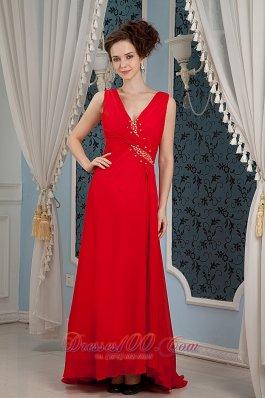 Red V-neck Prom Maxi Dress Beading Chiffon Cheap