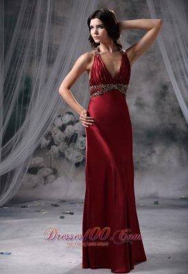 Burgundy Halter Beaded Floor-length Prom / Evening Dress