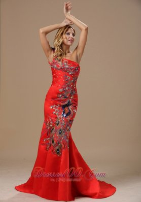 Embroidery Red One Shoulder Prom Celebrity Dress Mermaid Style