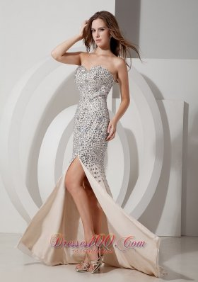 Rhinestone Mermaid Sexy High Slit Beaded Prom Celebrity Dress