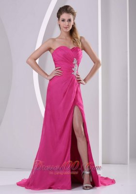 High Slit Chiffon Prom Celebrity Dress Hot Pink
