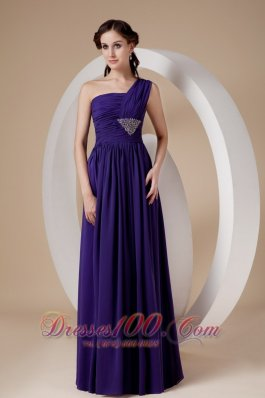 Sheath Chiffon Purple One Shoulder Prom Dress Beaded