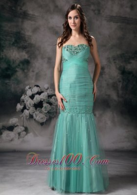 Organza Sweetheart Mermaid Turquoise Beaded Prom Dress