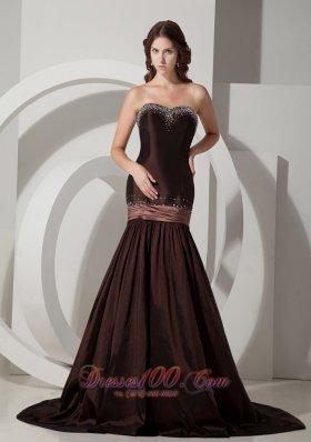 Brown Beaded Mermaid Design Taffeta Sweep Prom Dress