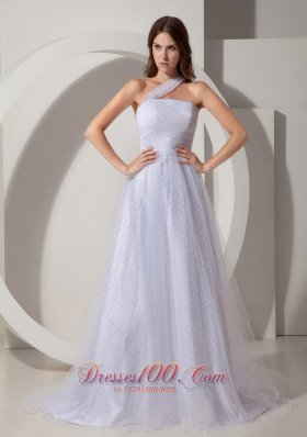 Court Train A-line Tulle Wedding Dress with One Shoulder