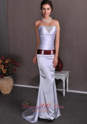 Ruched Bodice Elastic Woven Satin Sashed Brush Prom Celebrity Dress