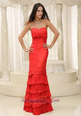 Ruffled Layers Red Sweetheart Mother Of The Bride Dress