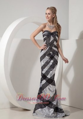 Black and Silver Brush Sequined Mermaid Evening Celebrity Dress