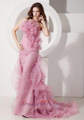 Ruffled Handmade Rose Pink Mermaid Designers Evening Dress