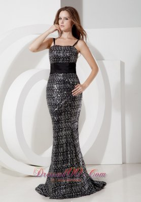 Sashed Sequins Spaghetti Straps Mermaid Evening Dress
