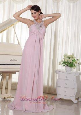 Applique Halter Baby Pink Chiffon Brush Prom Dress