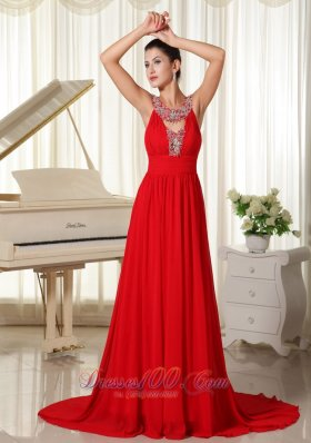 Multi-colored Scoop Beaded Red Chiffon Prom Dress