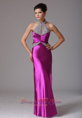 Halter Beads Fuchsia Prom Celebrity Dress 2013
