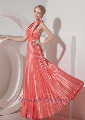 Pleated Watermelon Halter Evening Dress 2013