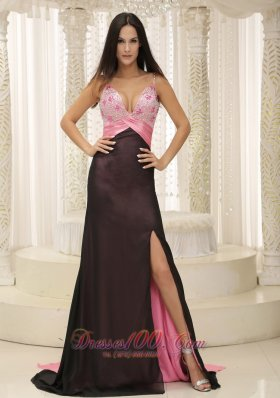 Spaghetti Straps Two-toned Beaded Evening Dress