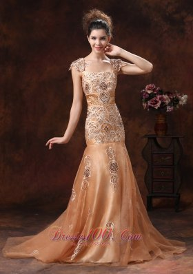 Mermaid Square Embroidery Champagne Straps Prom Dress