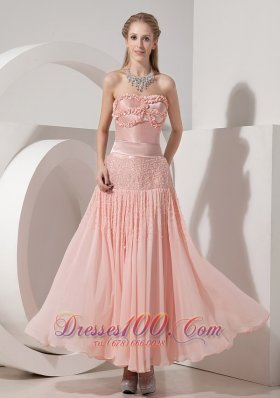 Ankle-length Handmade Light Pink Evening Dress Beaded