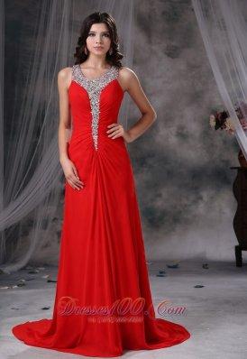 Scoop Beaded Red Chiffon Prom Evening Dress