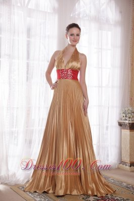Halter Gold Sash Brush Beaded Rhinestones Prom Dress