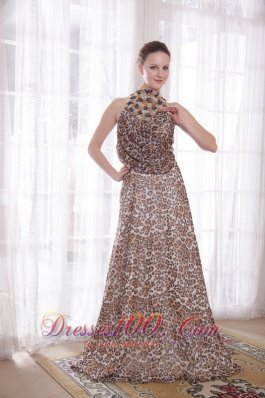 High Neck Leopard Epire Brush Beads Prom Gown
