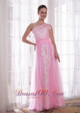 Sheath One Shoulder Applique Beaded Prom Evening Dress