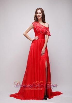 Asymmetrical Brush Cap Sleeves High Slit Red Evening Gown