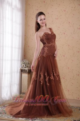 Appliques Tulle Brush One Shoulder Prom Pageant Dress