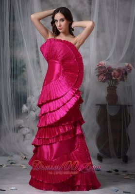 Organza Hot Pink Fan Shape Layered Evening Dress