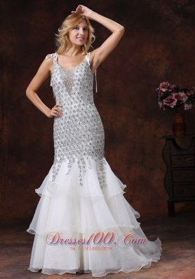 Ruffles Layered Straps Sequined mermaid Prom Gown Dress