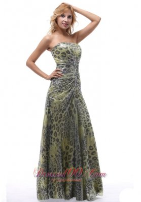 Leopard Strapless Lace up Multi-color Prom Dress
