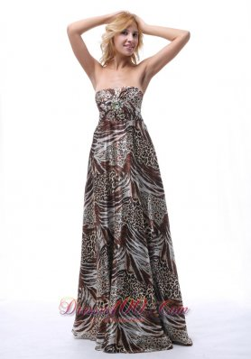 Multi-colored Printing Strapless Sheath Beaded Maxi Dress