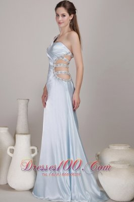 One Shoulder Light Blue Taffeta Prom Gown with Open Back