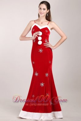 Mermaid Brush White and Red Beading Prom Dress