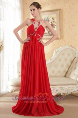 Sexy Red Prom Dress Floral Beaded Scoop Neck