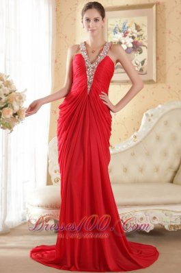 Halter V-neck Red Prom Dress Side Draping Chapel Train