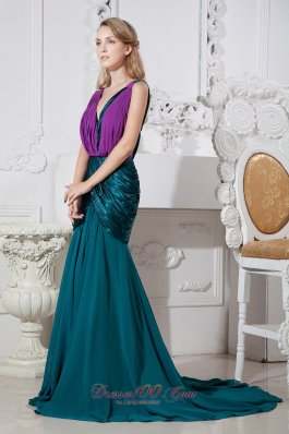 Peacock Green and Purple Mermaid V-neck Prom Dress Ruched