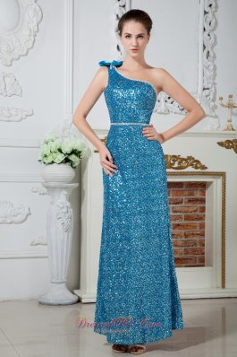 Dodger Blue One Shoulder Bowknot Prom Celebrity Dress Sequin Beaded