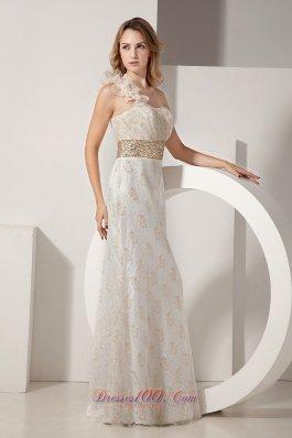 Floral One-shoulder Banded Waist Lace White Prom Celebrity Dress