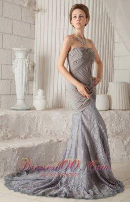 Grey Mermaid Lace and Chiffon Court Train Prom Dress