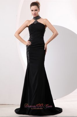 High-neck Black Mermaid Celebrity Dress Open Back