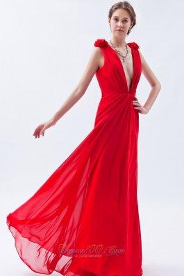 Plunging V-neck Open Back Red Flower Prom Dress