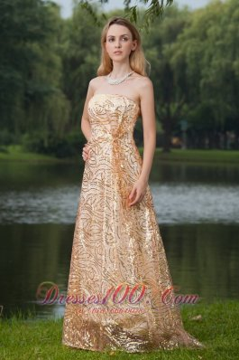 2013 Gold Evening Celebrity Dress Sequined Strapless Under 150