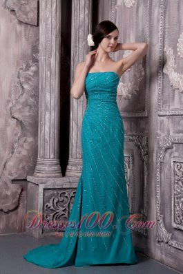 Teal Chiffon Strapless Evening Dress Sequins Court Train