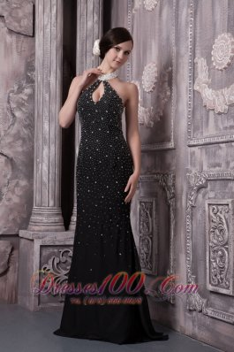 Sexy Beaded Black Evening Dress High-neck Keyhole Open