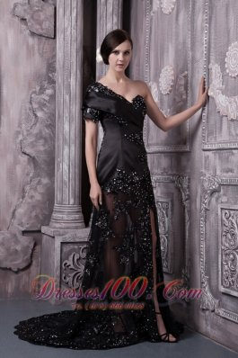Black One-shoulder Lace Sexy Mother Of The Bride Dress