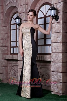 Embroidery Black and Champagne Evening Dress Mermaid
