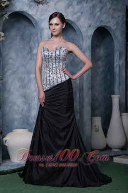 Sweetheart Beaded Evening Dress Black and White 2013