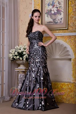 Exquisite Black Sequined Strapless Evening Celebrity Dress 2013